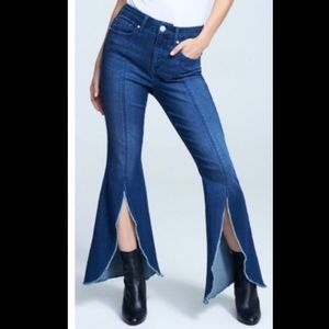 Seven7 High Rise Open Front Flare Stretch Jeans- 4